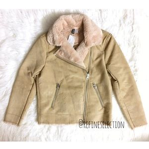 H&M Faux Suede and Fur Tan Moto Jacket